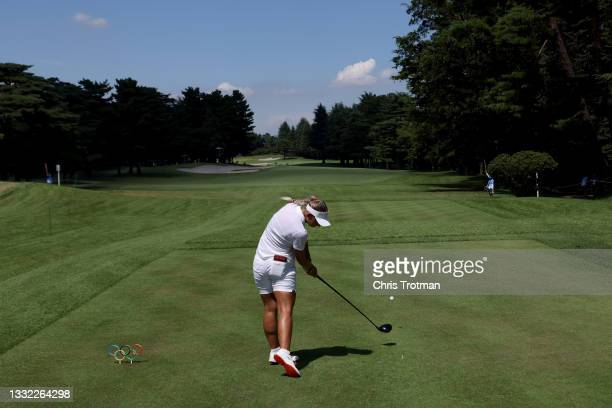Emily Kristine Pedersen of Team Denmark plays her shot from the 14th tee during the first round of the Women's Individual Stroke Play on day twelve...
