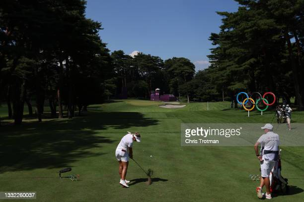 Emily Kristine Pedersen of Team Denmark plays her shot from the 16th tee during the first round of the Women's Individual Stroke Play on day twelve...