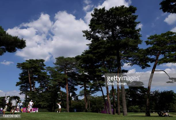 Emily Kristine Pedersen of Team Denmark plays her shot from the 18th tee during the first round of the Women's Individual Stroke Play on day twelve...