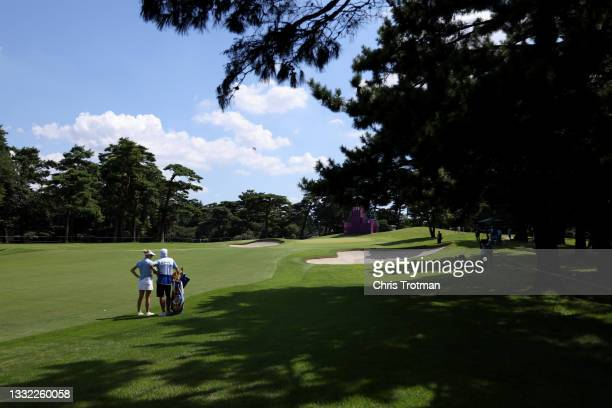 Emily Kristine Pedersen of Team Denmark waits to play her second shot on the 15th hole during the first round of the Women's Individual Stroke Play...