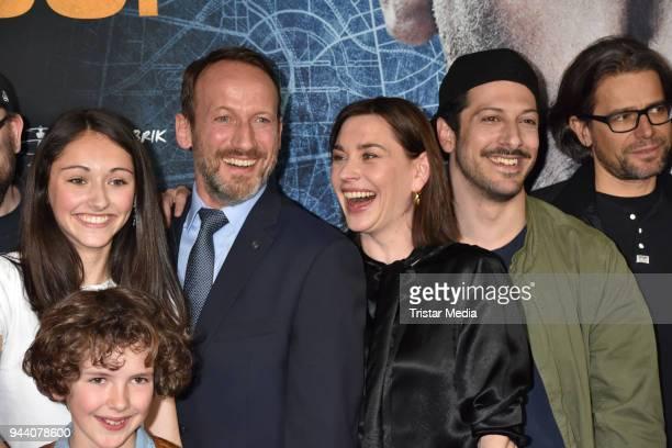 Emily Kusche Carlo Thoma Wotan Wilke Moehring Christiane Paul and Fahri Yardim attend the 'Steig Nicht Aus' Premiere on April 9 2018 in Berlin Germany