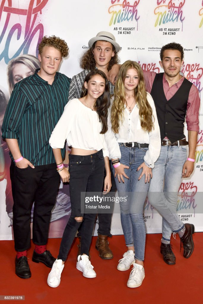Emily Kusche, Flora Li Thiermann and guests attend the 'Tigermilch' Premiere at Kino in der Kulturbrauerei on August 15, 2017 in Berlin, Germany.