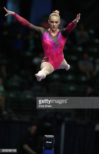 Emily Little of Australia competes on the balance beam during Day 2 of the 2016 Pacific Rim Gymnastics Championships at Xfinity Arena on April 9 2016...