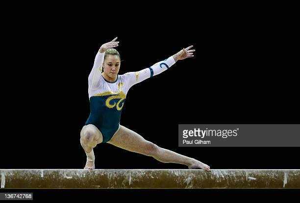 Emily Little of Australia in action on the balance beam during the Women's Artistic Gymnastics Olympic Qualification round at North Greenwich Arena...