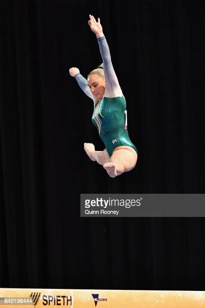 Emily Little of Australia performs on the Beam during the World Cup Gymnastics at Hisense Arena on February 25 2017 in Melbourne Australia