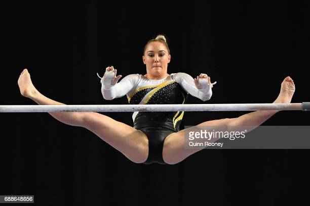 Emily Little of Western Australia competes on the Uneven Bars during the Australian Gymnastics Championships at Hisense Arena on May 26 2017 in...