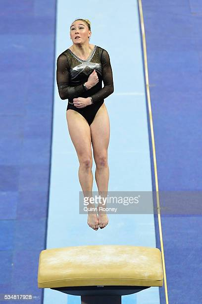 Emily Little of Western Australia competes on the vault during the 2016 Australian Gymnastics Championships at Hisense Arena on May 28 2016 in...