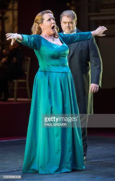 Emily Magee and Stuart Skelton performing during a gala concert in the Throne Room at Buckingham Palace in London on October 25 to mark 70th birthday...