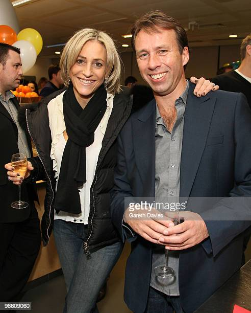 Emily Maitlis and Ben Brown at The Ultimate News Quiz at Google HQ on February 11 2010 in London England