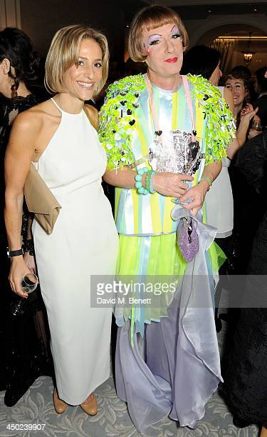 Emily Maitlis and Grayson Perry attend a drinks reception at the 59th London Evening Standard Theatre Awards at The Savoy Hotel on November 17 2013...