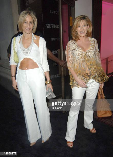 Emily Maitlis and guest during Harpers Queen Launch '100 Most Beautiful Women of the 20th Century' Exhibition at Selfridges in London Great Britain