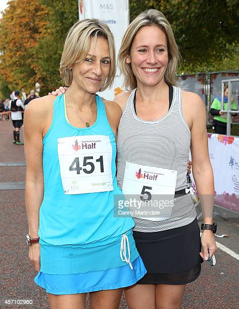 Emily Maitlis and Sophie Raworth attends a photocall ahead of the Royal Parks Foundation half marathon at Hyde Park on October 12 2014 in London...