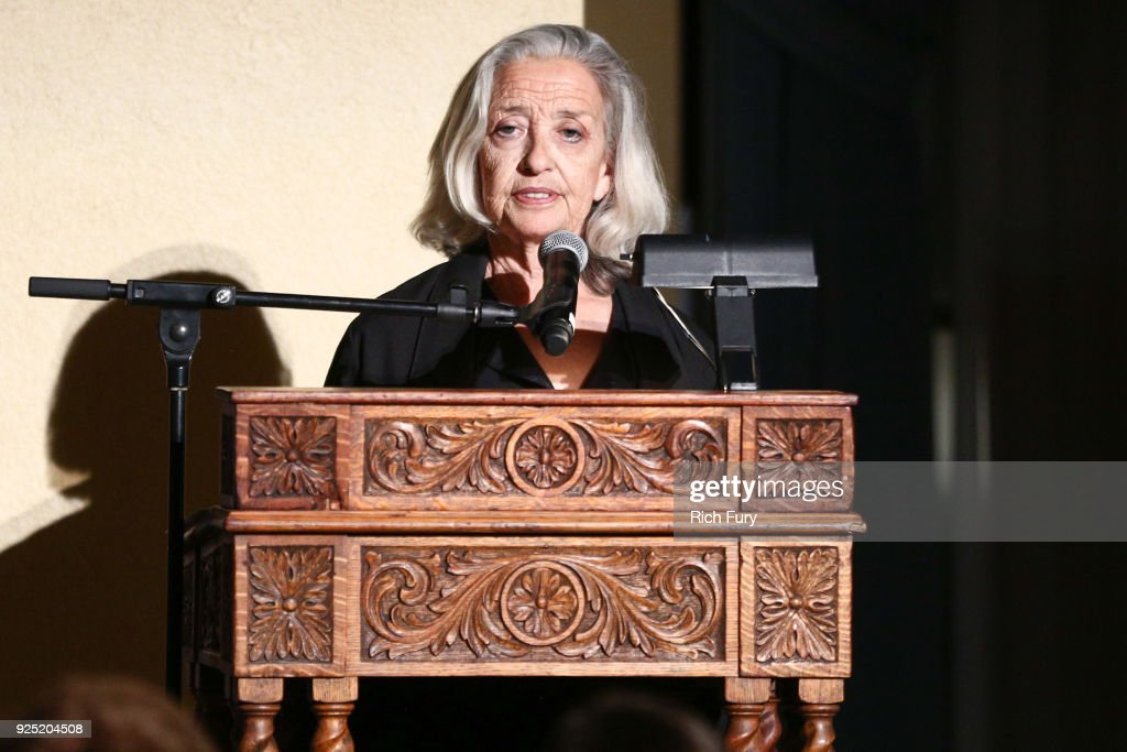 Emily Martiniuk speaks onstage during the Stories From The Front Line charity program at the Ebell of Los Angeles on February 27, 2018 in Los Angeles, California.