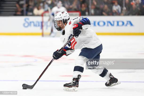 Emily Matheson of the U.S. Women's Hockey Team handles the puck in the game against the Canadian Women's National Team at Honda Center on February...