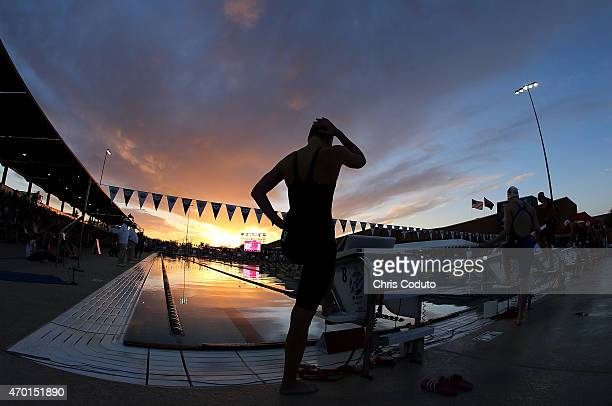 Emily McClellan waits to compete in the 200m Breaststroke Final during day three of the Arena Pro Swim Series at the Skyline Acquatic Center on April...