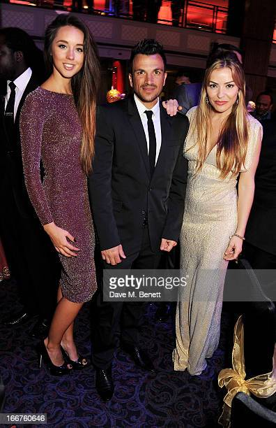 Emily McDonagh Peter Andre and Elen Rivas attend The Asian Awards at The Grosvenor House Hotel on April 16 2013 in London England