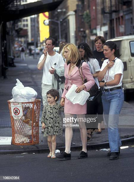 Emily McEnroe and Tatum O'Neal during Tatum O'Neal on the Set of Basquiat June 16 1995 at SoHo in New York City New York United States