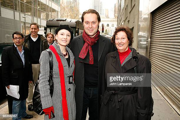 """Emily McKay, Christian McKay and Chris Feder attend the """"Me and Orson Welles"""" plaque unveiling the at the site of the original Mercury Theater on..."""
