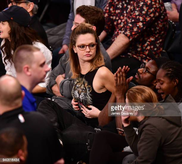 Emily Meade attends New York Knicks vs Detroit Pistons game at Madison Square Garden on March 31 2018 in New York City
