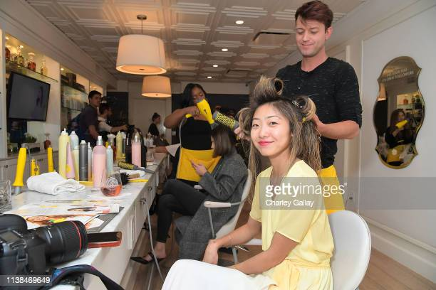 Emily Men attends JNSQ Launches as Official Wine Partner of Drybar Salons Nationwide - LA Launch Party at Drybar Beverly Hills on March 22, 2019 in...