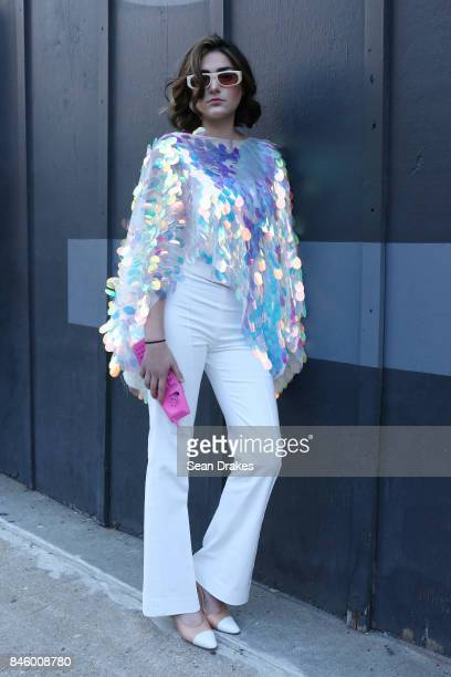 Emily Michaels attends the Spring/Summer 2018 womenswear collection shows during New York Fashion Week at Skylight Clarkson Square on September 11...
