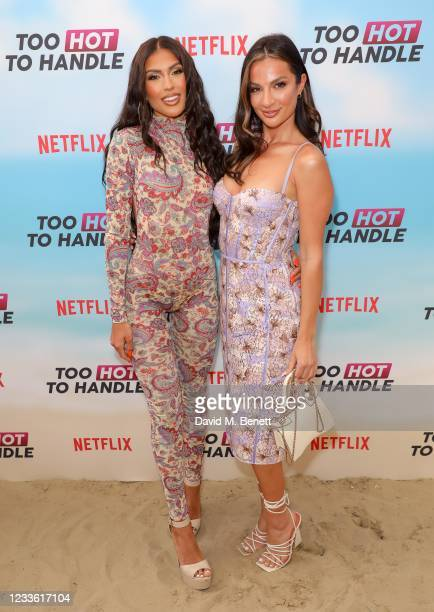 """Emily Miller and Christina Carmela attend a special screening of Netflix's """"Too Hot To Handle"""" Season 2 at the Fulham Beach Bar on June 23, 2021 in..."""