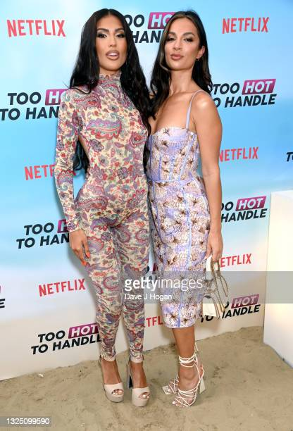 """Emily Miller and Christina Carmela attend the """"Too Hot To Handle"""" Season 2 Special Screening photocall at Fulham Beach Bar on June 23, 2021 in..."""