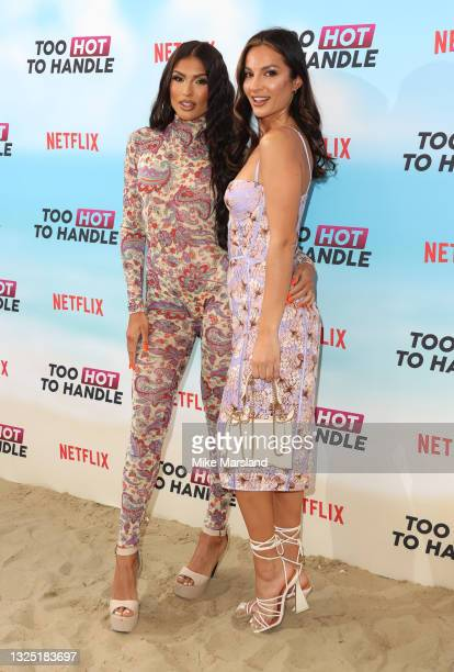 """Emily Miller and Christina Carmela attends the """"Too Hot To Handle"""" Season 2 Special Screening photocall at Fulham Beach Bar on June 23, 2021 in..."""
