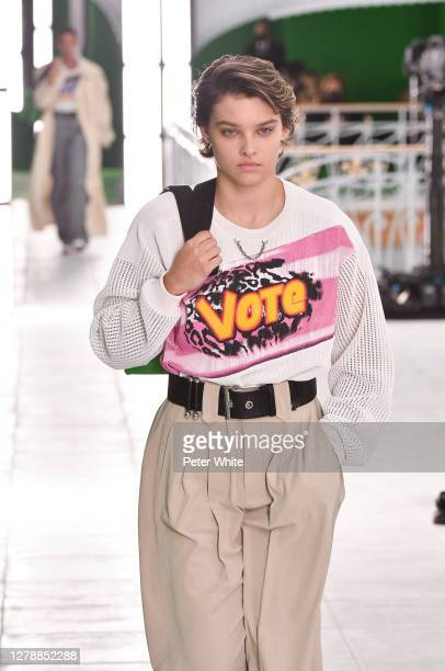 Emily Miller walks the runway during the Louis Vuitton Womenswear Spring/Summer 2021 show as part of Paris Fashion Week on October 06, 2020 in Paris,...