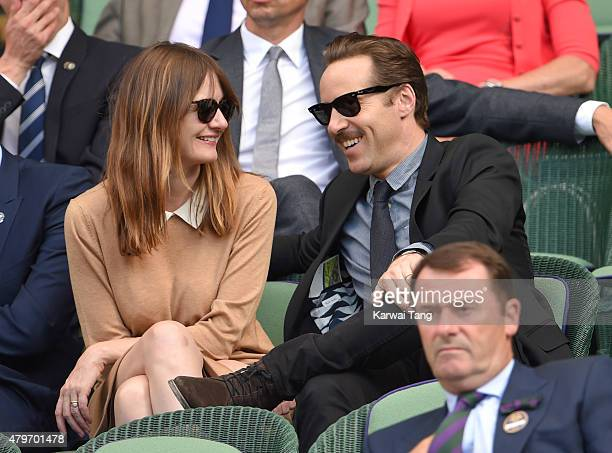 Emily Mortimer and Alessandro Nivola attend day seven of the Wimbledon Tennis Championships at Wimbledon on July 6 2015 in London England