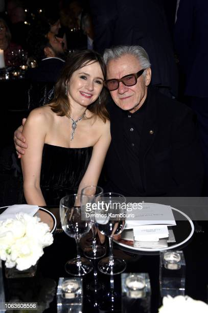 Emily Mortimer and Harvey Keitel attend The Museum Of Modern Art Film Benefit Presented By CHANEL A Tribute To Martin Scorsese on November 19 2018 in...