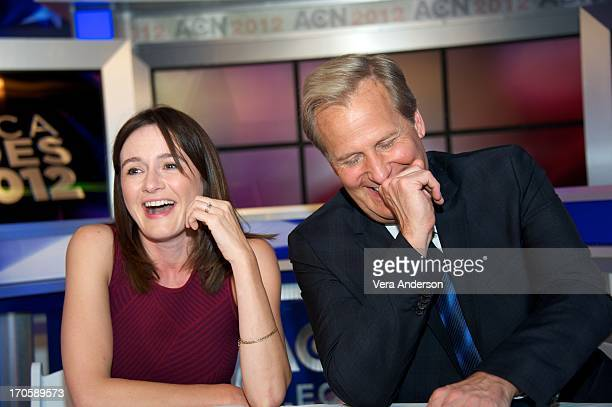 Emily Mortimer and Jeff Daniels at The Newsroom Press Conference at Sunset Gower Studios on June 13 2013 in Hollywood California