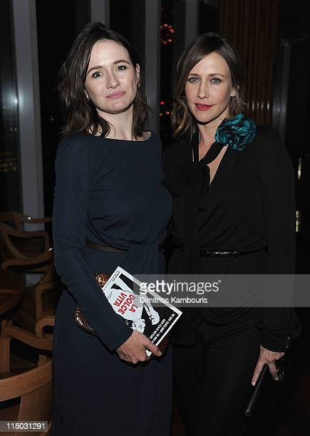 Emily Mortimer and Vera Farmiga attend the after party for the Gucci Cinema Society the Film Foundation screening of La Dolce Vita at the Top of The...