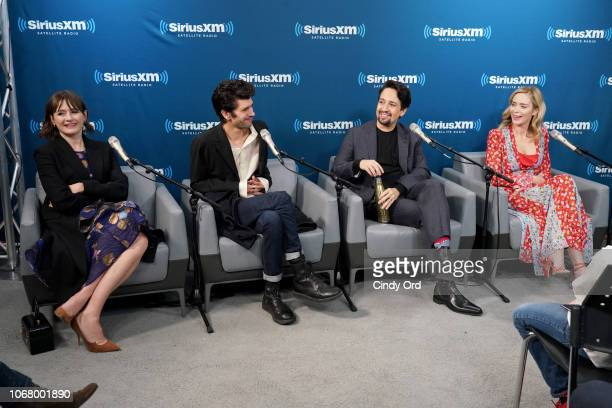 Emily Mortimer Ben Whishaw LinManuel Miranda and Emily Blunt attend SiriusXM's Town Hall With The Cast Of 'Mary Poppins Returns' on December 3 2018...