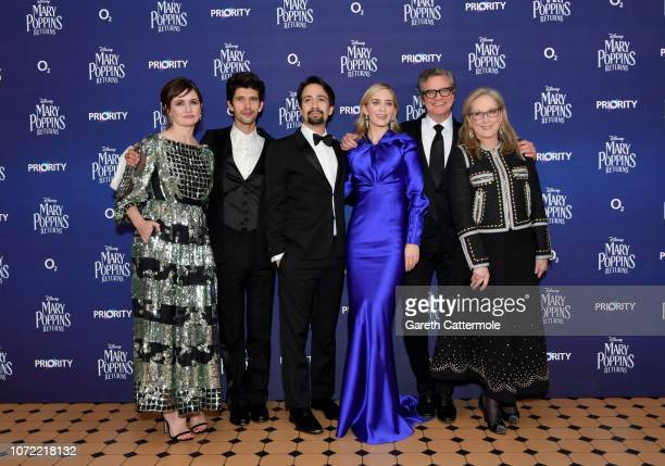 Emily Mortimer Ben Whishaw LinManuel Miranda Emily Blunt Colin Firth and Meryl Streep attend the European Premiere of Mary Poppins Returns at Royal...