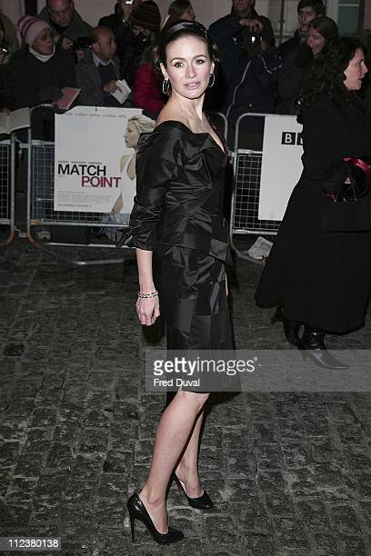 """Emily Mortimer during """"Match Point"""" London Premiere - Arrivals at Curzon Cinema Mayfair in London, Great Britain."""