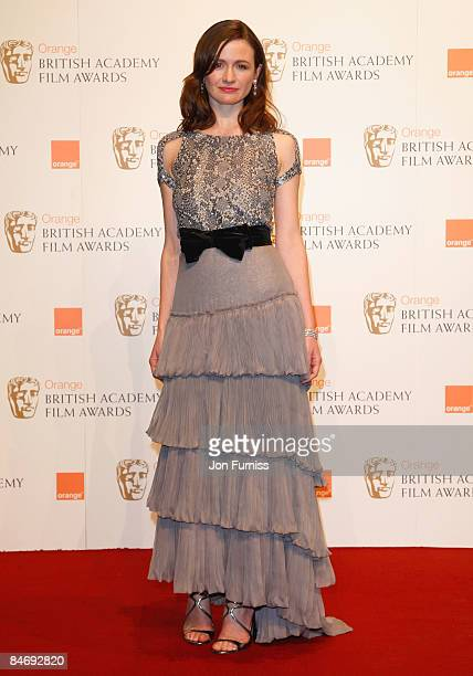 Emily Mortimer poses at the winner's board at The Orange British Academy Film Awards held at the Royal Opera House on February 8, 2009 in London,...