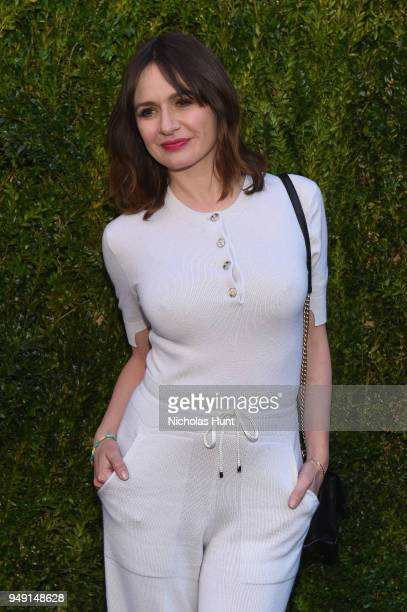 Emily Mortimer wore a white BARRIE cashmere jumpsuit CHANEL shoes and bag at the CHANEL Tribeca Film Festival Women's Filmmaker Luncheon at Odeon on...