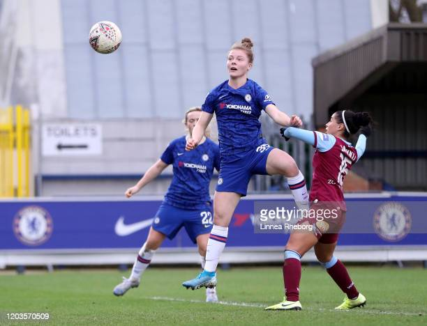 Emily Murphy of Chelsea scores her sides eighth goal during the Barclays FA Women's Super League match between Chelsea and West Ham United at...