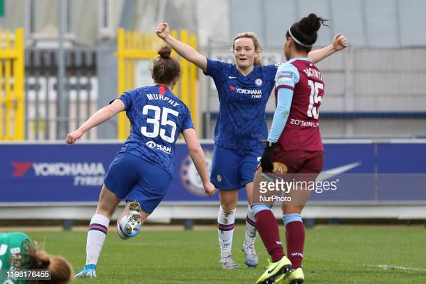 Emily Murphy of Chelsea Women celebrating her team's eighth goal during the Barclays FA Women's Super League match between Chelsea and West Ham...