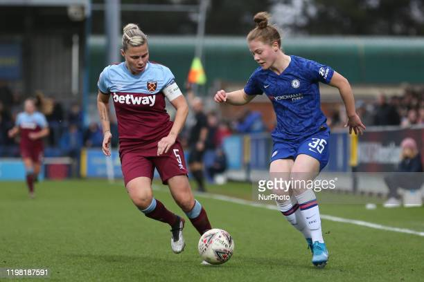 Emily Murphy of Chelsea Women taking on Gilly Flaherty of West Ham United Women during the Barclays FA Women's Super League match between Chelsea and...