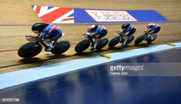 Emily Nelson Elinor Barker Neah Evans and Katie Archibald of Great Britain compete during the Women's Team Pursuit during the TISSOT UCI Track...