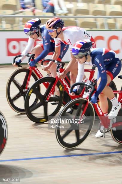 Emily Nelson Katarzyna Pawlowska Eleanor Dickinson compete during Grand Prix of Poland a UCI track cycling event in Pruszkow Poland on 1st July 2017