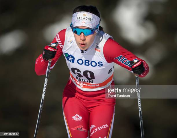 Emily Nishikawa of CAN during sprint ladies free at Lugnet Stadium on March 16 2018 in Falun Sweden