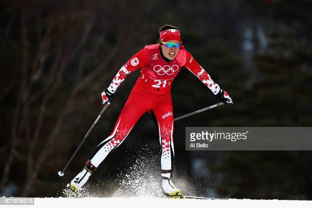 Emily Nishikawa of Canada competes during the Cross Country Ladies' Team Sprint Free semi final on day 12 of the PyeongChang 2018 Winter Olympic...
