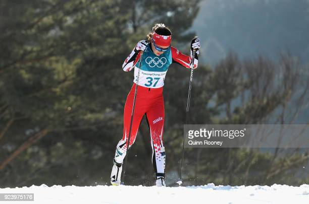 Emily Nishikawa of Canada competes during the Ladies' 30km Mass Start Classic on day sixteen of the PyeongChang 2018 Winter Olympic Games at Alpensia...