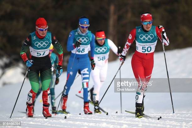 Emily Nishikawa of Canada competes during the Ladies Cross Country Skiing 75km 75km Skiathlon on day one of the PyeongChang 2018 Winter Olympic Games...