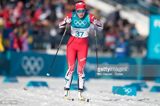 Emily Nishikawa of Canada in action during the CrossCountry Skiing Ladies' 30km Mass Start Classic at the Alpensia CrossCountry Skiing Centre on...