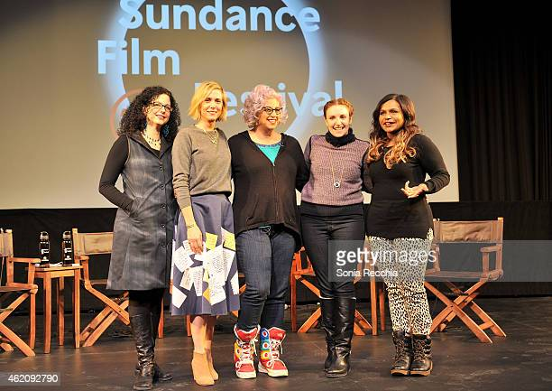 Emily Nussbaum Kristen Wiig Jenji Kohan Lena Dunham and Mindy Kaling appear onstage at the Power Of Story Panel Serious Ladies during the 2015...