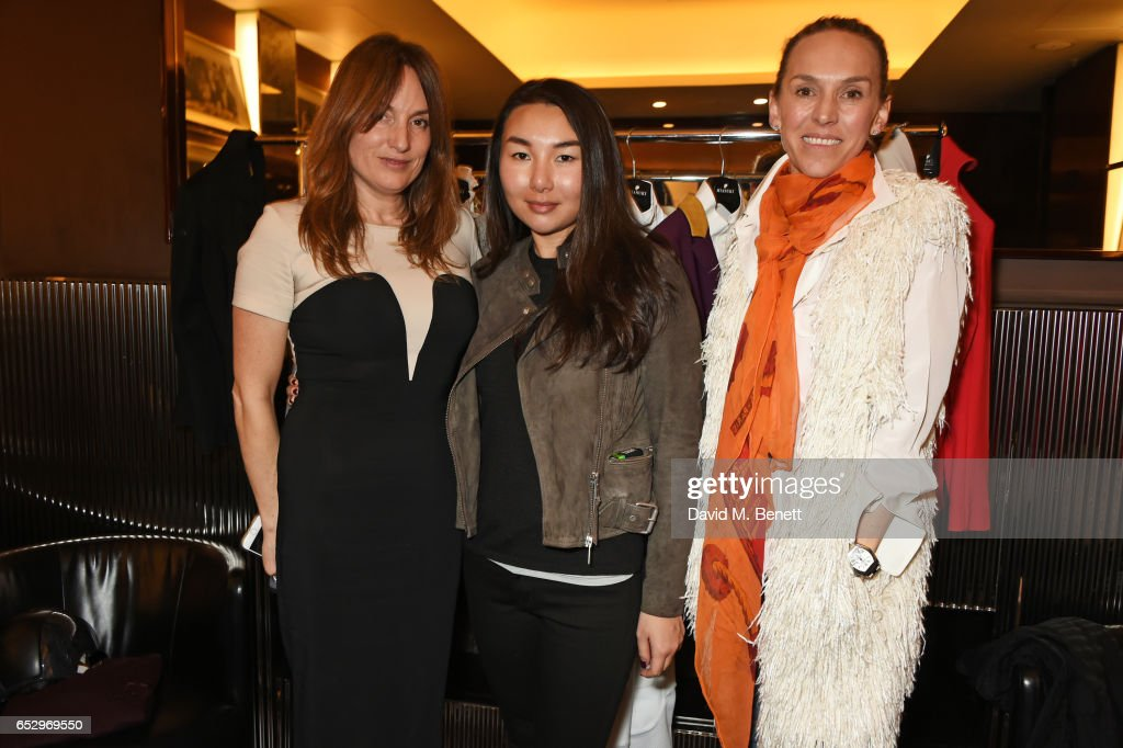 Emily Oppenheimer, MIASUKI founder Mia S. Lei and Victoria Jilla attend a cocktail party at the Bulgari Hotel London to celebrate the launch of MIASUKI at Harrods on March 13, 2017 in London, England.
